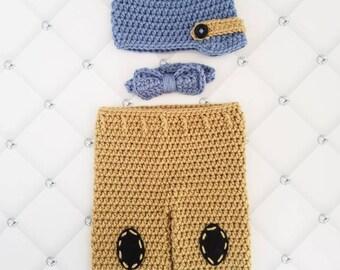 Baby boy hat and pants set, newborn baby hat and pants, baby boy picture outfit, newborn newsboy outfit, little man pictures set