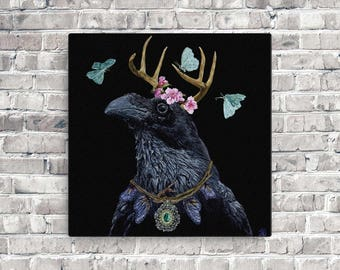 Raven Queen painting on canvas, Original acrylic painting, Fantasy raven art, Crow art painting, Blackbird painting design