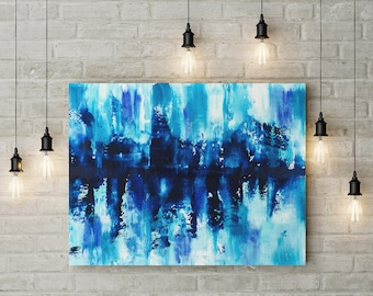 Abstract fine art print in blue turquoise and white