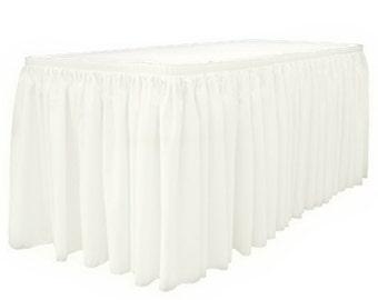 """14' x 29""""-White Linen Like Soft Table Skirt Non Woven-Polyester/Nylon Blend 1 pc"""