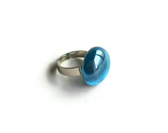 Sky Blue Gem Ring - Solitaire - Cocktail Ring - Adjustable - Statement - Bold Ring