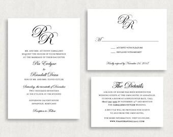 Wedding Invitation and RSVP Card (Pia) -Digital File, PDF, DIY, Printable, Calligraphy, Script, Black and White, Monogram, Classic, Print