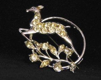 Art Deco rhinestone deer brooch