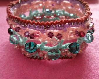 Jewelry Beaded Crochet Cuff Bracelet  Beaconhillcollect Collectible Jewelry