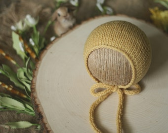 Simple Knit Bonnet with Knitted Ties in Warm Yellow - Newborn Knit Bonnet - Ready to Ship