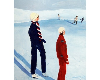 """Fine Art Print /Archival Print of an original Acrylic Painting """"Auf dem Wintersee"""" (On the winter lake) Figure skating, Din A 4"""