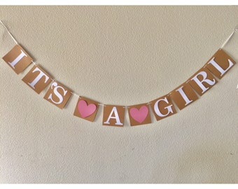 It's A Girl Heart Banner