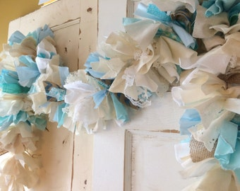 Blue Baby Shower Party Decoration.  Burlap shower garland.  6-10 foot fabric banner, Boys Baby Shower Backdrop. Eco-Friendly Design