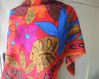 Vintage 1980s rayon scarf designer Liz Claiborne NOS abstract floral flowers 32 x 32 inches