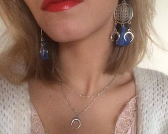 Blue earrings, double horns, dreamcatcher, mandala, pom poms