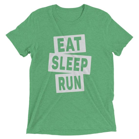 Men's Eat Sleep Run Triblend T-Shirt - I Love Running - Available in 16 Different Triblend Colors - Men's Short Sleeve Running Shirt