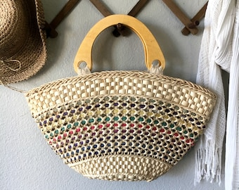 Vintage Straw Handbag with Wood Handles / Woven Multi-color Straw Tote