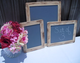 SET OF 3 Rustic Distressed Chalkboards for Signs and Table Numbers or Photo Props,Great for backyard Reception - Item 1215
