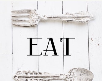 EAT SET OF 2 Distressed Cast Iron Spoon & Fork, Coffee Shop,Wall Hanging-Wall Decor -Oversized Utensils-in Rustic Sand Color-Anthropologie