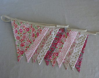 Garland flags (x 10) in liberty fabric, dots, stars, gingham