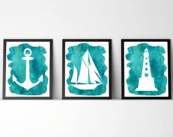 Nautical,sailboat,Lighthouse,ocean,sea,Nursery,Bathroom,art,Set of three prints,teal,watercolor,beach decor,gift for nursery,home,baby boy,