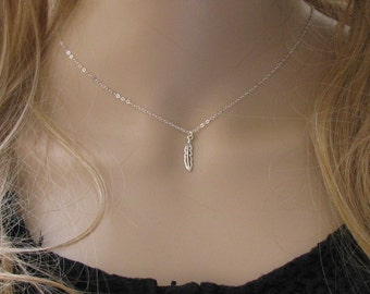 Silver necklace, Feather necklace, silver feather necklace, dainty necklace, gift for her, everyday necklace, leaf necklace