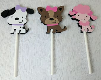 Puppy Cupcake Toppers, Dog Cupcake Toppers, Puppy Party, Dog Theme, Puppy Decor, Puppy Birthday Party