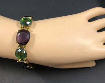 Large Monet Multi Coloured Glass Gemstone Unfoiled Rhinestone Bracelet