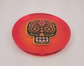 Sugar Skull Handmade Resin Coaster Orange or Purple FI0335