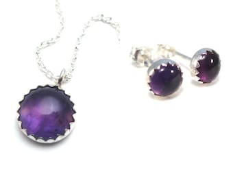 Amethyst Necklace and Earrings Set, Jewelry Set for Her, Matching Necklace Studs, Gift for Sister