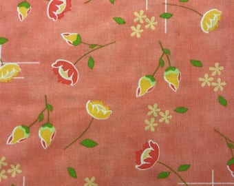 Yellow and Darker Peach Flowers on Ligher Peach Background, Lulu Lane by Corey Yoder for Moda Fabrics, 100% Cotton
