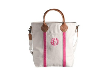 Flight  Bag - Pink Canvas Tote bag with leather handles and monogram