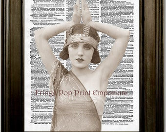 Flapper Art Print 8 x 10 on Dictionary Page Art Deco - Altered Art Collage - Jazz Age - Glamour - Roaring 20's