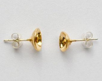 Gold Stud Earrings - Hemisphere Studs - Domed Second Hole or Cartilage Circle Earrings - Simple Everyday Moon Earings - Made in Brooklyn NYC