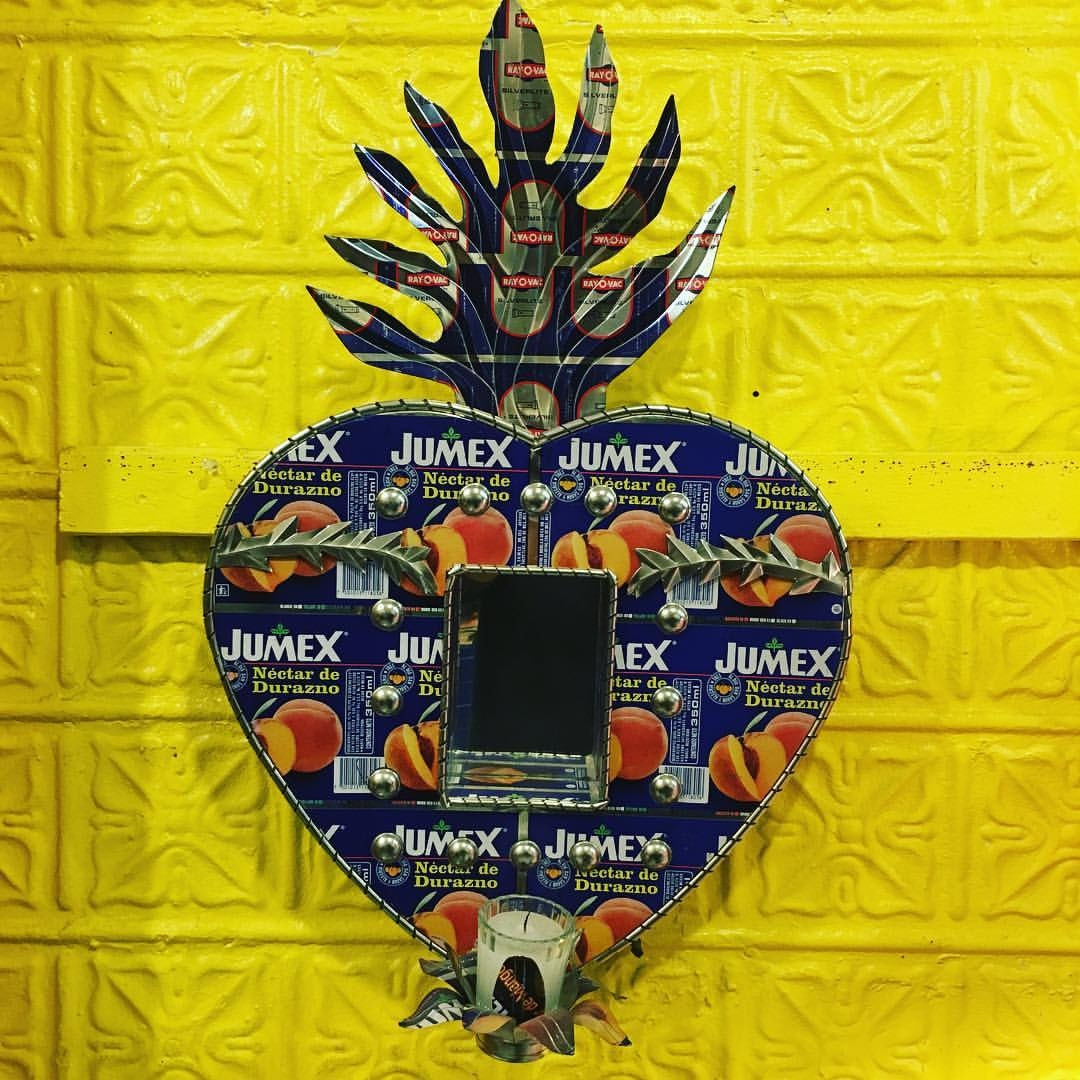 Recycled Printed Tin Mexican Sacred Heart Votive Shrine, Wall Art ...