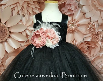 Black Flower Girl Tutu Dress-Black Tutu Dress-Black Wedding Tutu-Black Girl Tutu-Black Girl Tutu-Black Halloween Tutu-Black Wedding Tutu
