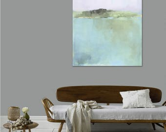 Ready to Hang Minimalist Abstract Landscape, Canvas Print, Large Landscape Print, Soft Fog, Pottery Barn Artist, Large Wall Art, West Elm