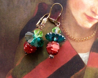 Holiday Jewelry, Red Green Earrings, Crystal Green Jewelry, Xmas Gift Earrings, Dangle Bead Crystal Earrings, Xmas Gift Earrings Beaded