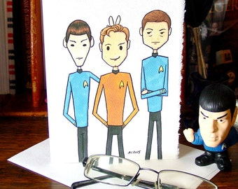 Star Trek Greeting Card - Live Long and Prosper Bunny Ears - Kirk Spock McCoy Bones