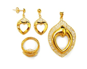 SS_SGH_BU_51 18K 21K 22K  Yellow Gold  Love Bonding Shape Half Set Fine looking  Jewelry  for Her