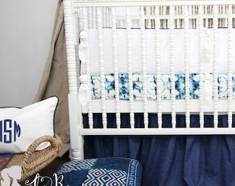 White & Navy Trim 2-in-1 Crib Bumper/Rail Cover | Convertible Gender Neutral Baby Bumper Set | White/Navy Trim Crib Bumper Set