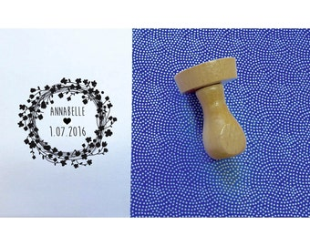 Flowers A Crown stamp, stamp baptism custom, 4, 5cm, name, date stamp stamp round stamp, personalized stamp, rubber stamp wood stamp