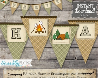 Camping Party Banner - INSTANT DOWNLOAD - Editable & Printable Birthday Campfire, Tent, Smores, Wilderness, Outdoor Party Decorations