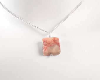 Natural Redline Marble Necklace, animal lover gift, gift for women, stone necklace, giving back, orange jewelry, natural jewelry