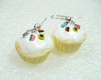 Cupcake Earrings. Licorice Allsorts. Polymer Clay.