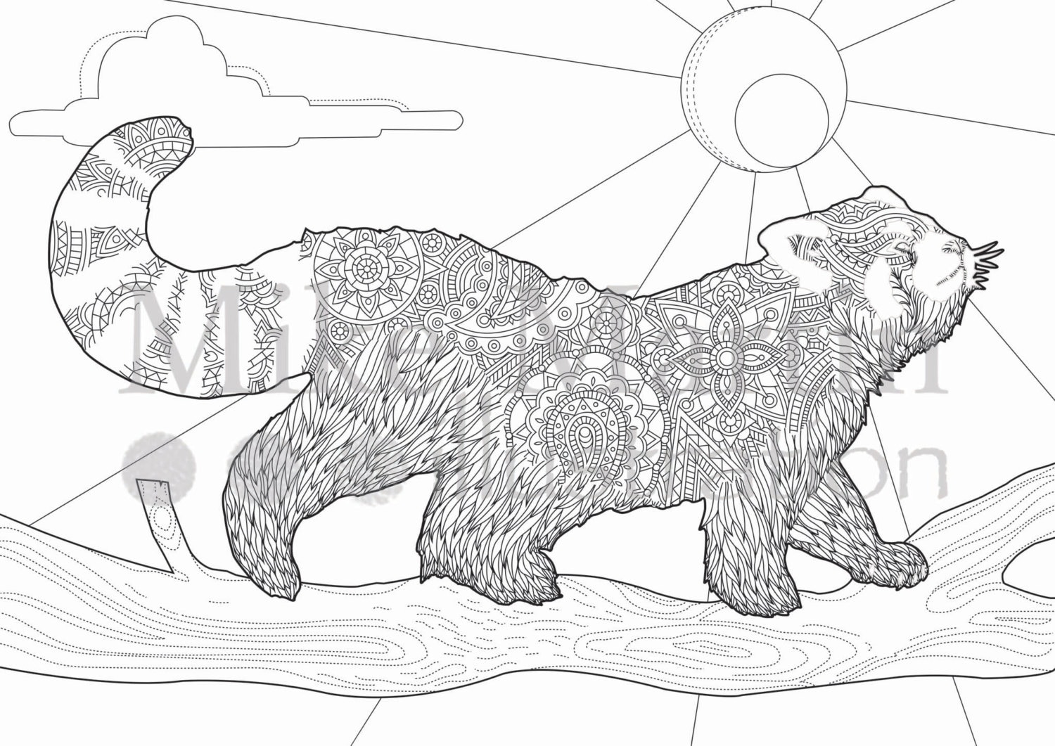 Red Panda Coloring Page Printable Red Panda Coloring Page Instant Download Adult