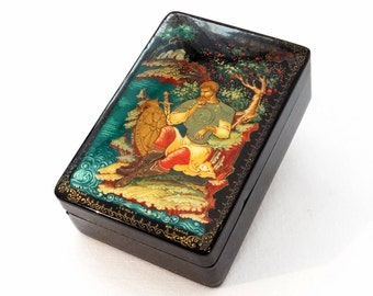 Russian Lacquer Box - Kholuy Handpainted Jewelry Box - Ermak - Signed by Artist