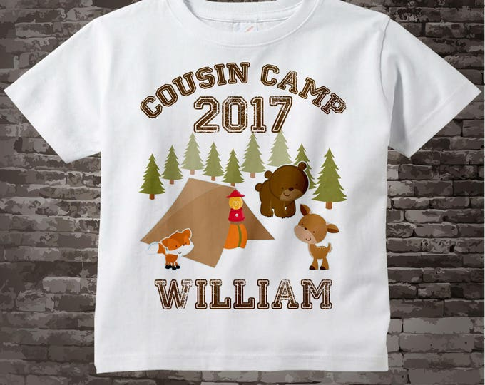 Cousin Camp T-shirt | Personalized with child's name | Cute Camping and Woodland image with bear deer fox and campsite 08042012b