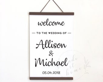 Wedding Welcome Sign, Welcome Wedding Sign, Wedding Signage, Wall Banner, Custom Quote Print, Large Wall Art, Rustic Wall Decor, Modern