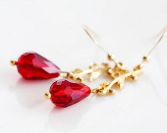 Leaf Branch Drop Earrings Delicate Gold Branch Ruby Red Crystal Teardrop Dangle Earrings - E229