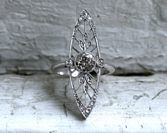 RESERVED - Stunning Edwardian Platinum Diamond Navette Ring - 1.60ct.