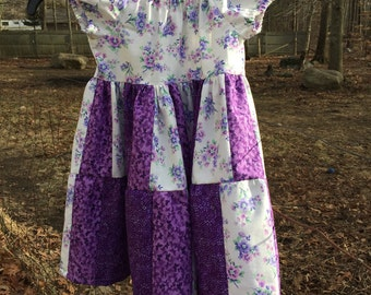 Girls Size 4 Modest patchwork Dress in Purple; Easter