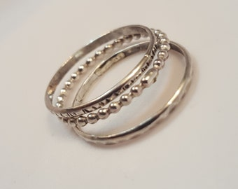 Dainty Stack Jewelry, Stacking Rings, Triplet Stacking Bands, Silver Stacking Rings, Handmade Jewelry, Handmade Stacking Rings