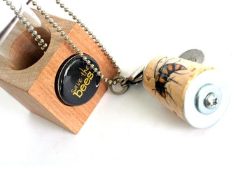 Bee Necklace - Bee Jewelry, Save the Bees, Environmental, Stamped Metal Initial, Custom, Recycled, Cork in Test Tube and Cube - Uncorked