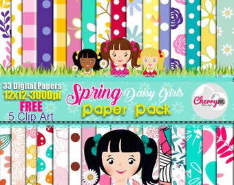 Daisy Spring Flower Digital Paper, Daisy girls PNG, Flowers Paper, Spring Paper, Scrapbook Paper, printables, Paper, Floral, Clip Art, FREE